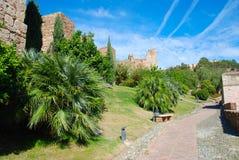Muren en tuin van Alcazaba, Malaga Royalty-vrije Stock Afbeelding