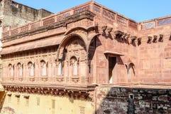 Muren en Verschillende delen van Mehrangarh-Fort, Rajasthan Stock Afbeelding