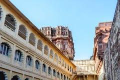 Muren en Verschillende delen van Mehrangarh-Fort, Rajasthan Royalty-vrije Stock Foto's
