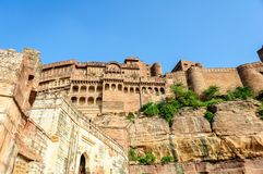 Muren en Verschillende delen van Mehrangarh-Fort, Rajasthan Stock Afbeeldingen