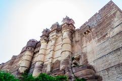 Muren en Verschillende delen van Mehrangarh-Fort, Rajasthan Stock Fotografie