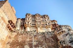 Muren en Verschillende delen van Mehrangarh-Fort, Rajasthan Stock Foto