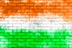 Muren met de de vlagkleur die van India worden geschilderd Stock Foto
