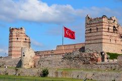 Muren van Constantinopel stock foto's