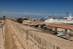 Muren van de Haven van Famagusta stock foto's