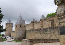 Muren van Franse stad Carcassonne Royalty-vrije Stock Afbeeldingen