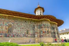 Muren van het Sucevitaklooster, één van Bucovine-kloosters Stock Foto