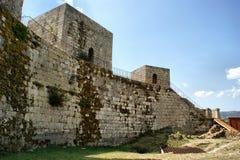 Muren van kasteel Montalegre Stock Fotografie