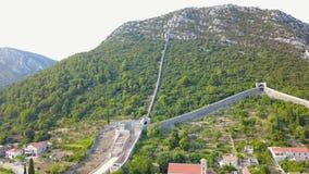 Muren van Ston in Kroatië stock footage