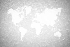 Murez le fond de texture, processus dans la couleur blanche avec la carte du monde Photos libres de droits