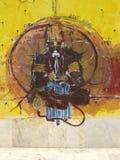 Murez le graffiti du ji de hanuman sur des murs de temple Photographie stock