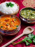 Murgh Makhani and Saag Paneer. Photo of an Indian meal of Butter Chicken, rice and Saag Paneer. Focus across the Butter Chicken bowl Stock Photography