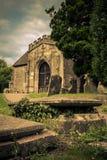 Murgröna som kommer ut ur en grav på den gamla acient kyrkan i Wales Arkivfoton