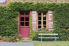 Murgrönan växer på fasaden av en lantgård i Helgon-Aubin-des-Chateaux (Frankrike) Royaltyfri Fotografi