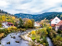 Murgtal town outlook with river in the Black Forest royalty free stock images