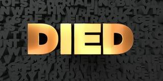 Murió - texto del oro en fondo negro - la imagen común libre rendida 3D de los derechos ilustración del vector