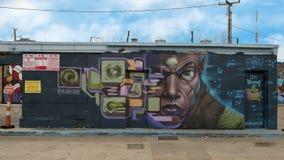 Muri il murale di arte in Ellum profondo, Dallas, il Texas fotografia stock libera da diritti