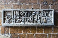 Muri la decorazione a Bruges, Fiandre, Belgio Fotografia Stock Libera da Diritti