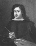 Murillo. Bartolome Esteban Murillo (1617-1682) on engraving from the 1800s. Spanish painter, one of the most important Baroque figures. Engraved by E. Sariven Stock Photography