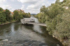 Murinsel artificial island on the Mur river in Graz, Austria. Royalty Free Stock Photography