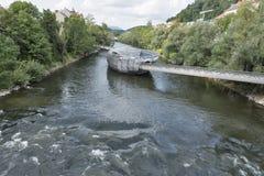 Murinsel artificial island on the Mur river in Graz, Austria. stock photos