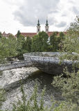 Murinsel artificial island on the Mur river in Graz, Austria. Stock Images