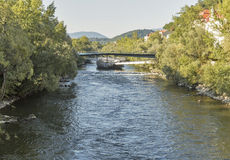 Murinsel artificial island on the Mur river in Graz, Austria. Royalty Free Stock Image