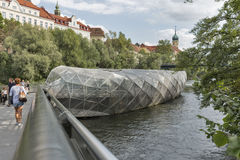 Murinsel artificial island on the Mur river in Graz, Austria. Royalty Free Stock Photo