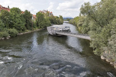Murinsel artificial island on the Mur river in Graz, Austria. Royalty Free Stock Images
