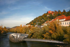 Murinsel Graz. An artificial island with a cafe, which serves also as a footbridge Stock Image