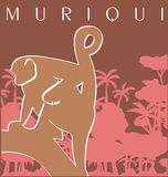 Muriqui. A muriqui in a tree, it is a brazilian monkey royalty free illustration