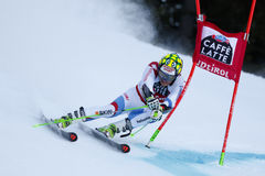 MURISIER Justin in Audi Fis Alpine Skiing World-Kop Men's Gian Royalty-vrije Stock Fotografie