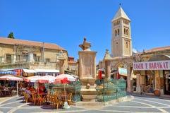 Muristan喷泉在市场领域的中心在耶路撒冷。 免版税库存照片
