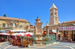 Muristan fountain at center of market area in Jerusalem. Royalty Free Stock Photos