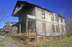 Murken byggnad i Detroit, MI-slumkvarter Arkivbild