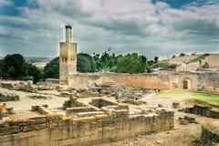 Murket fördärvar på den Chellah nekropolen royaltyfria bilder