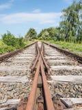 Murkna järnvägsspår i landskapet av Mecklenburg-västra Pomerania Arkivbild