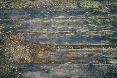 Murkna träbräden av den gamla flodbron Arkivbilder
