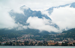Murky Lake Como. Photo of a small Italian town near Lake Como (Italy) on a murky day Stock Photo