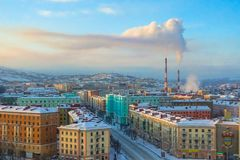 017 - Murmansk city in winter, Beautiful aerial air winter vibrant view of Murmansk, Russia royalty free stock photos