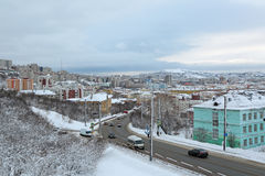 Murmansk cityscape Stock Photos