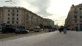 Murmansk cityscape -street and low-rise homes stock footage