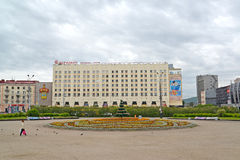 MURMANSK, RÚSSIA A vista do hotel meridiano do congresso Foto de Stock