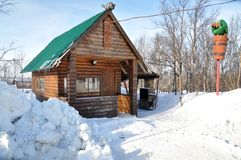 Stylization of the log hut of yaga from Russian folk tales Stock Image