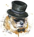 Murmeltieraquarell Groundhog Day Lizenzfreie Stockfotos