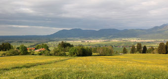 Murnau wetlands in the bavarian foothills, thundery mood Royalty Free Stock Image