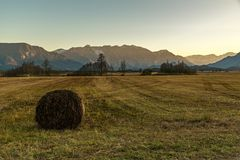 The Murnauer Moos on sunset with a hay bale in the foreground Stock Image