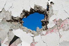 Muro de cemento con los agujeros fotografía de archivo
