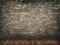 Muro de cimento com assoalho de madeira Imagens de Stock