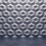Muro de cimento poligonal e assoalho concreto lustroso Fotos de Stock